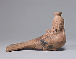 Siren (mythology) - Archaic perfume vase in the shape of Siren, c. 540 BC