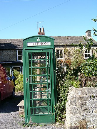 Barningham, County Durham - An unusual green telephone box is situated in the village