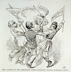 James B. Weaver - An 1880 cartoon in Frank Leslie's Illustrated Newspaper ridicules the Greenback party as a collection of disparate radicals.
