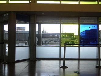 Inside the Greyhound station in St. Louis, Missouri on the afternoon of May 26, 2010. A bus in the background on its way to pick up passengers at another gate at this station is bound for Los Angeles, California. Greyhound-St. Louis.jpg