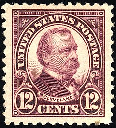 Cleveland postage stamp issued in 1923 Grover Cleveland 1923 Issue-12c.jpg