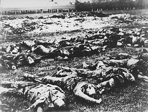 Gudovac massacre - Bodies of victims exhumed by German investigators, 30 April 1941