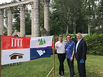 Guildwood - Guildwood Village Flag in Guild Park with Toronto Mayor John Tory, Councillor Paul Ainslie and Friends of Guild Park President John Mason. Photo by Guildwoodian.
