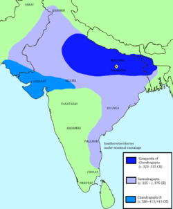 The Gupta Empire at its greatest extent.