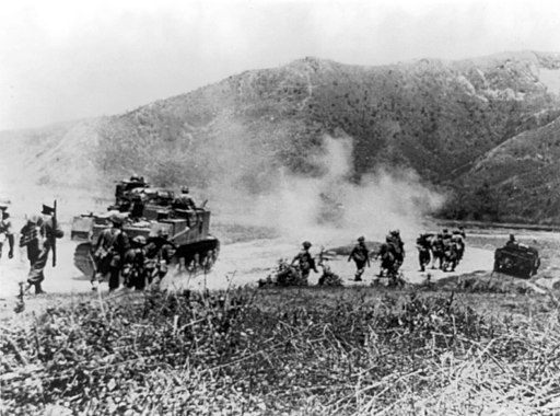 Gurkhas advancing with Lee tanks to clear the Japanese from Imphal-Kohima road