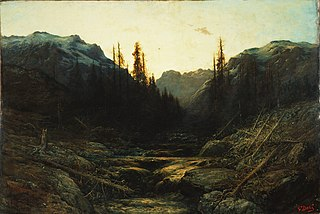 Stream in Mountains at Dusk