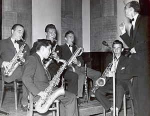 Mihailo Živanović - Orchestra Rehearsal in 1952. In the top row: Vladimir Plotnjikov, Vladimir Dajzinger, Mika Živanović. In the bottom row: Eduard Sađil and Karlo Takač. Conducted by Mladen Guteša.