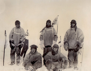 Henry Robertson Bowers - The Terra Nova expedition at the South Pole, January 1912, from negative taken by Bowers (seated, left)