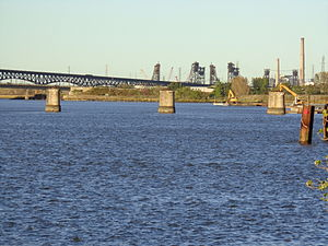 Hackensack Drawbridge - Piers (foreground) remain in the Hackensack as seen in shot looking north
