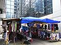 HK CWB Jardine's Crescent morning outdoor market stalls clothing blue cover Aug-2012.JPG