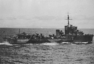 HMAS Vampire (D68) - Vampire on convoy escort in the Indian Ocean, 4 March 1942
