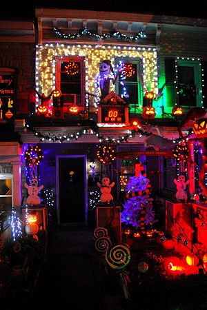 Hampden, Baltimore - The infamous 'Halloween House' which has synchronized lights during the Christmas season.
