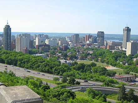 View of Downtown Hamilton from atop the Niagara Escarpment. HamiltonOntarioSkylineC.JPG