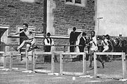 Harry Hillman during 200 m hurdling event at the 1904 Summer Olympics