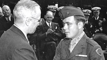 Harry Truman congratulates Marine Corporal Hershel Williams of the Third Marine Division on being awarded the Medal of Honor, 5 October 1945. Harry Truman congratulates Hershel Williams on being awarded the Medal of Honor.jpg