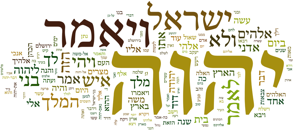"Hebrew Bible Wordle - פוסטר התפלגות המלים בתנ""ך"