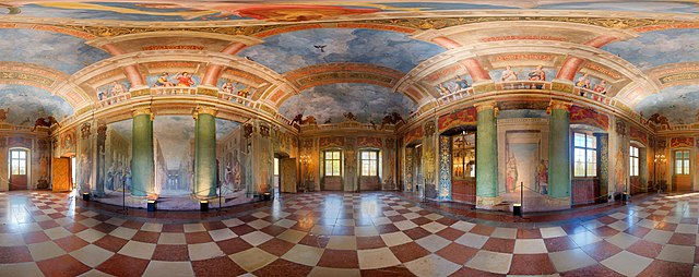 360º panoramic view of Hellbrunn banqueting hall by MatthiasKabel