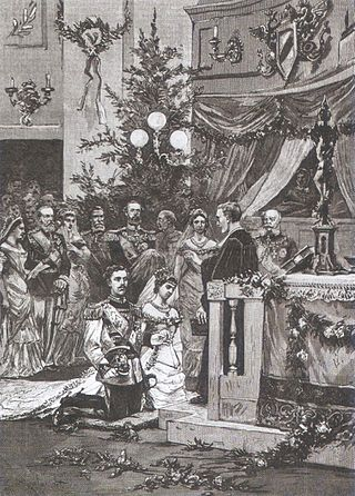 The wedding between crown prince Gustaf and Victoria of Baden