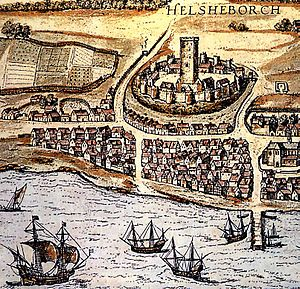 Battle of Helsingborg (1362) - Helsingborg in 1588, dominated by the citadel