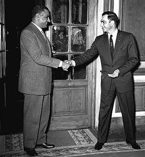 Henry A. Byroade - Ambassador Byroade (right) being received by Egyptian President Gamal Abdel Nasser, 1955