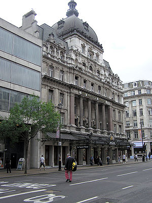 West End of London - Her Majesty's Theatre in Haymarket, home to Andrew Lloyd Webber's The Phantom of the Opera