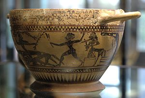Pholus (mythology) - Heracles, Pholus and the centaurs, black-figured skyphos, ca. 580 BC, Louvre (L 63).