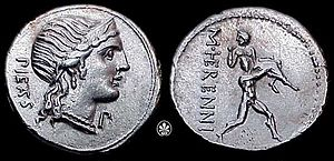 Pietas - Denarius of Herennius, depicting Pietas and an act of pietas.