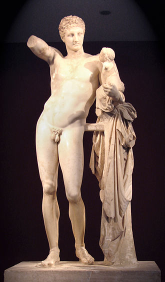 Praxiteles - Hermes bearing the infant Dionysus, by Praxiteles, Archaeological Museum of Olympia