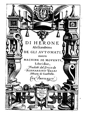 Automaton - The book About automata by Hero of Alexandria (1589 edition)