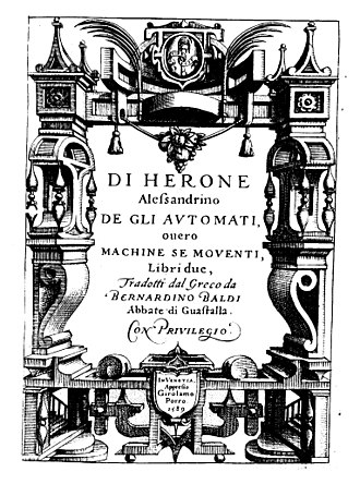 Hero of Alexandria - The book About automata by Hero of Alexandria (1589 edition)
