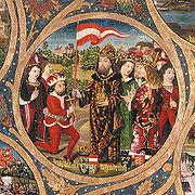 Herzog LeopoldV. von Babenberg (links kniend), mit Reiterfahne