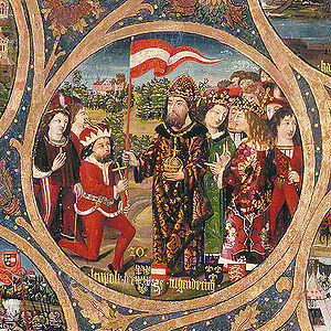 Flag of Austria - Duke Leopold V (left of centre, kneeling) receives the red-white-red banner from Emperor Henry VI, from the Babenberger Stammbaum, Klosterneuburg Monastery, c. 1490.
