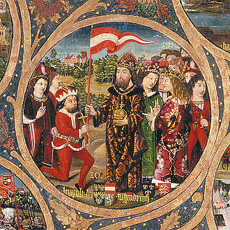 Duchy of Austria - Leopold V is awarded the red-white-red banner by Emperor Henry VI, detail from the Babenberg Pedigree, Klosterneuburg