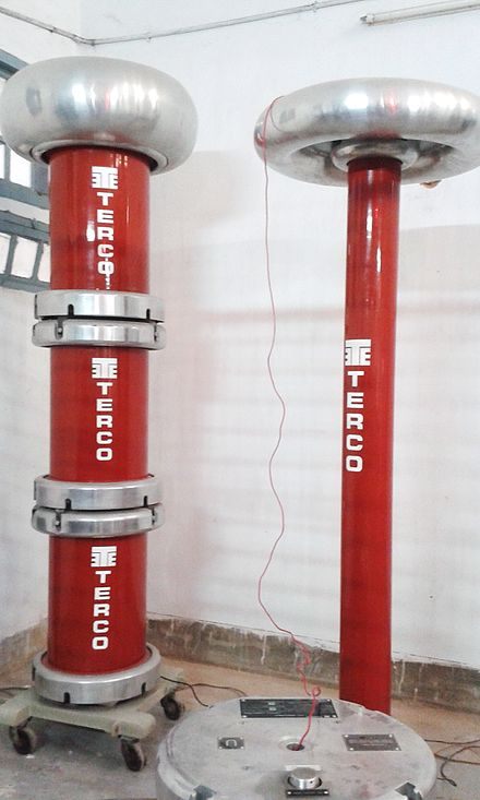 High voltage testing arrangement with large capacitor and test transformer High voltage testing arrangement with large capacitors and test transformer.jpg