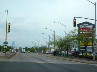 Ontario Highway 3 - Approaching the Ambassador Bridge in Windsor, westbound traffic on Highway 401 funnels onto Highway 3 and faces over a dozen traffic lights. Work is ongoing to bypass this bottleneck with a six lane freeway.