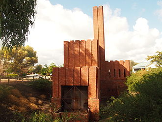 Brompton, South Australia - Hindmarsh Incinerator, designed by Walter Burley Griffin in 1935, viewed from the northwest