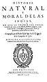 Historia natural y moral de las Indias, title page. Wellcome L0001208.jpg