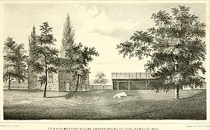 Old Haverford Friends Meetinghouse - Sketch of Haverford Friends Meetinghouse from Henry Graham Ashmead book - History of Delaware County, Pennsylvania, 1862