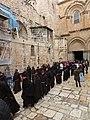 Holy Land 2019 (1) P097 Jerusalem Holy Sepulchre parvis Franciscan procession.jpg