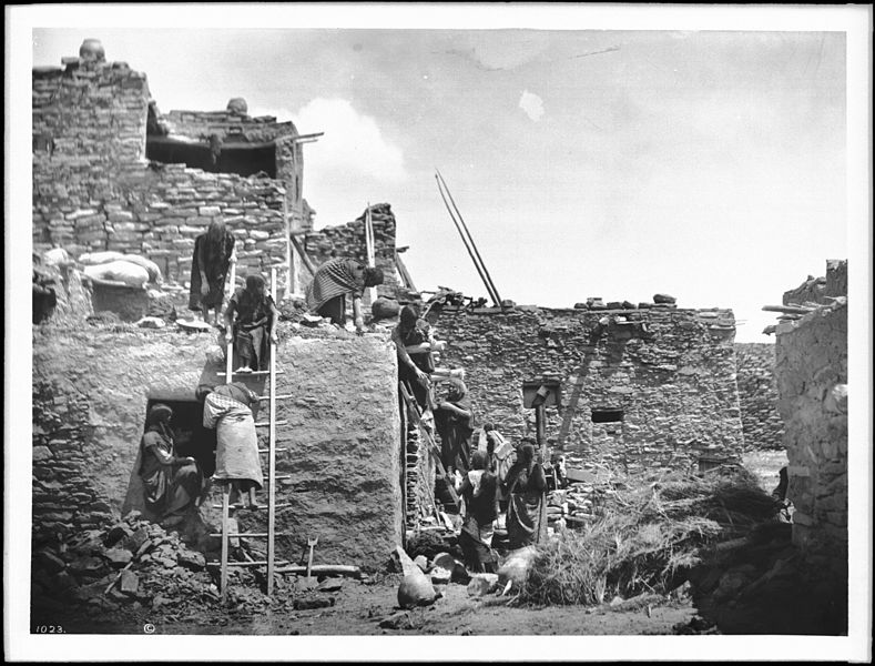 File:Hopi women building a house in Oraibi (CHS-1023).jpg