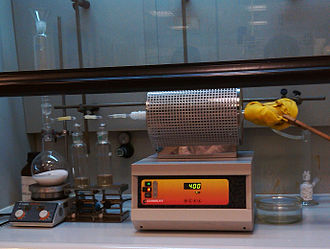 Solid-state chemistry - Tube furnace being used during the synthesis of aluminium chloride