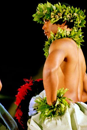 Hula - Dancer with ʻuliʻuli, hula kahiko competition, Merrie Monarch Festival 2003