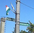 Hungarian flag and street signs, Csenger, 4765 Hungary - panoramio (2).jpg