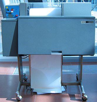 Line printer - IBM 1403 line printer, the classic line printer of the mainframe era.