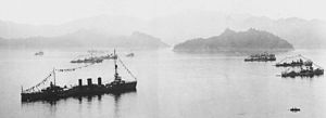 Japanese cruiser Tatsuta (1918) - Image: IJN Tatsuta in Inland Sea 1920s