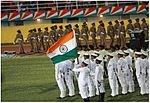 INS Teg contingent holding the Tri-Colour during the military parade on Seychelles' National Day 2015.jpg