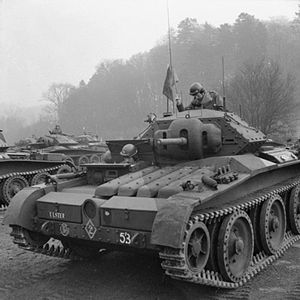 Guards Armoured Division - Covenanter tanks of the Irish Guards, part of the 5th Guards Armoured Brigade, in Southern England, March 1942.