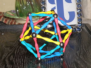 Regular icosahedron - Model of an icosahedron made with metallic spheres and magnetic connectors