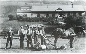 George Strath - Green keepers and their equipment at Ilkley Golf Club. Tom Vardon stands far left, c. 1900.