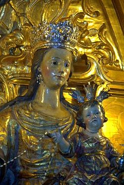the statue of our lady of europe with the holy child in the church of